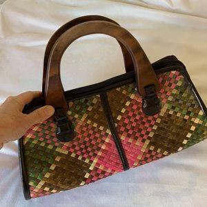 RAFFIA/ wicker Bag with Wood Handles